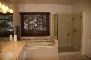 After the frameless shower enclosure was installed.